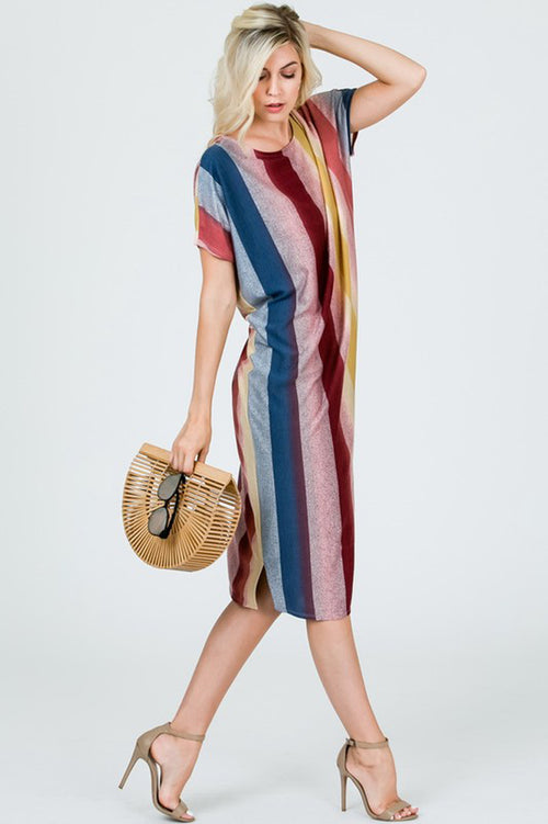 Nicole Colorful Midi Dress : Burgundy