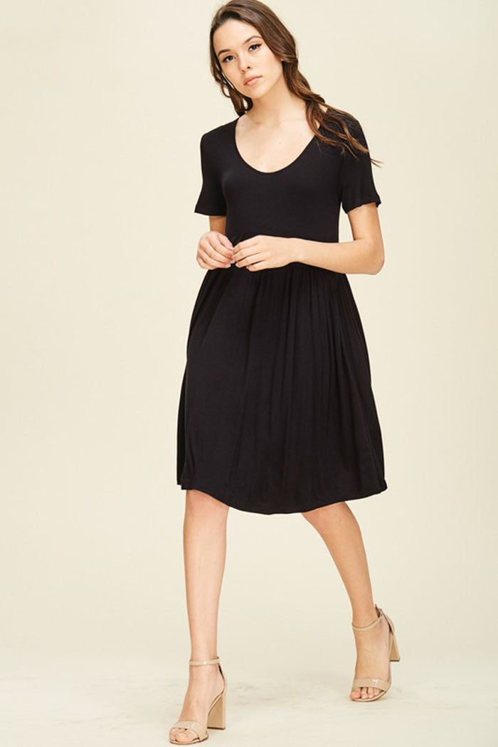 Joy Solid Swing Dress : Black