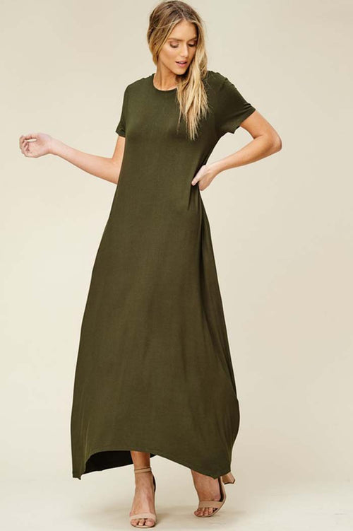 Elise Solid Relaxed Maxi Dress : Olive