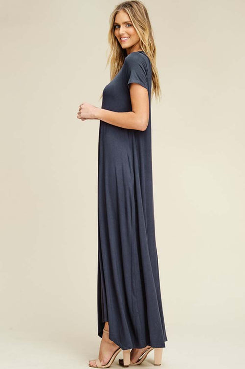 Elise Solid Relaxed Maxi Dress : Slate