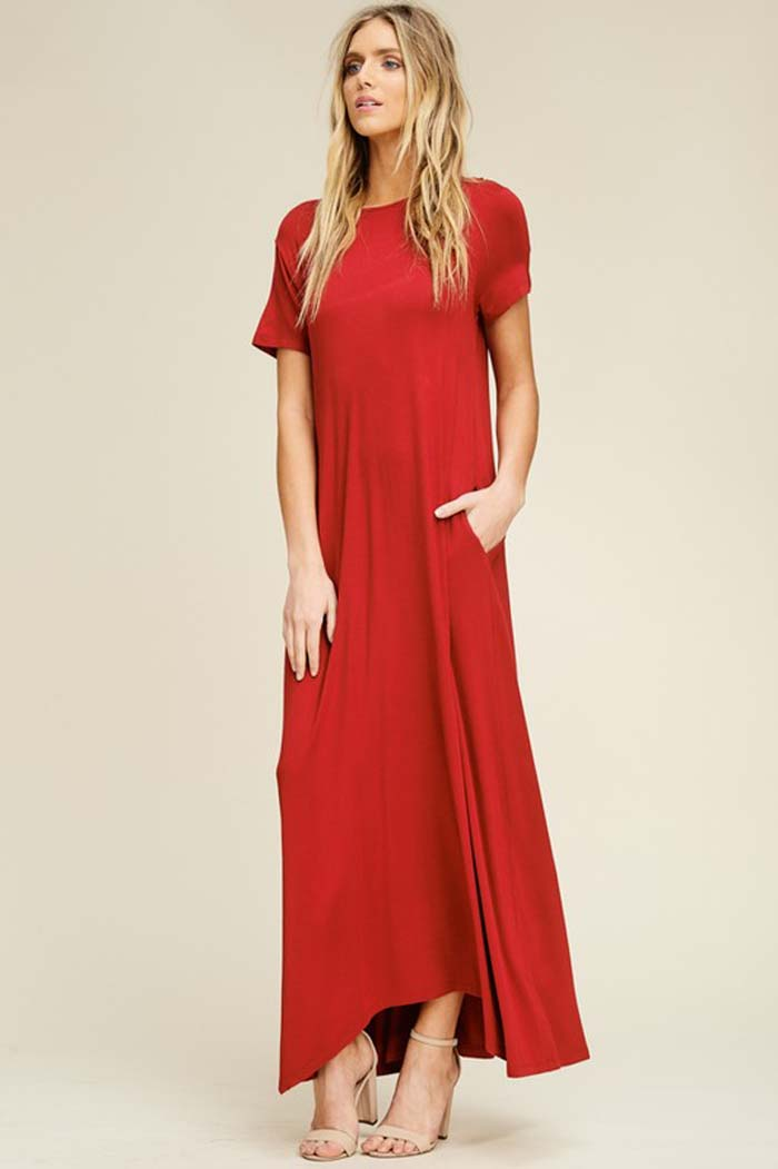 Elise Solid Relaxed Maxi Dress : Red