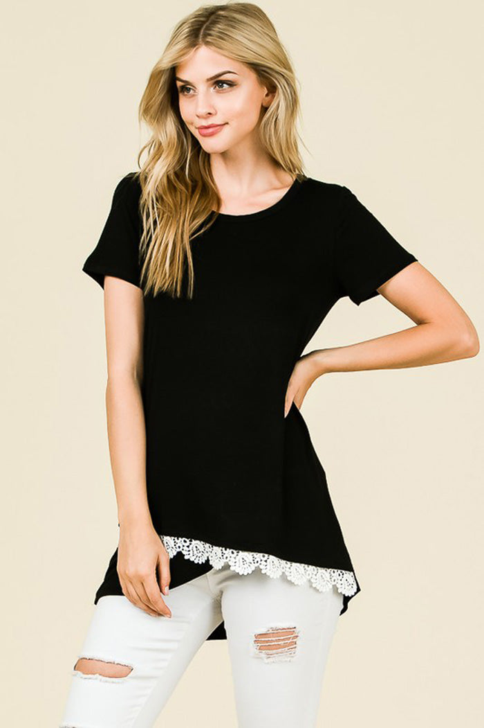 Frida Crochet Hem Top : Black