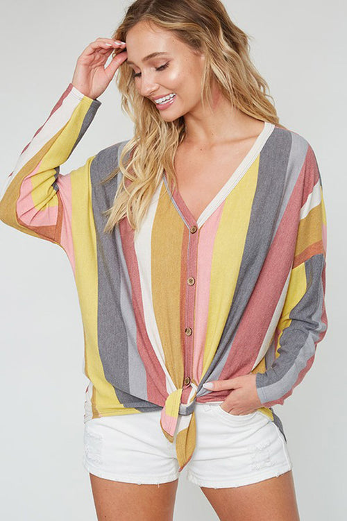 Hailey Stripe Front Tie Top : Mustard