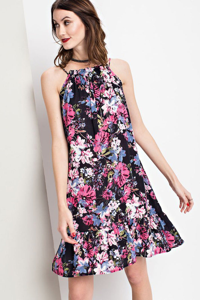 Olivia Halter Floral Dress : Blueberry