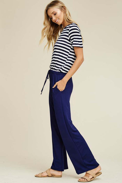 Harriet Straight Leg Jumpsuits : Navy