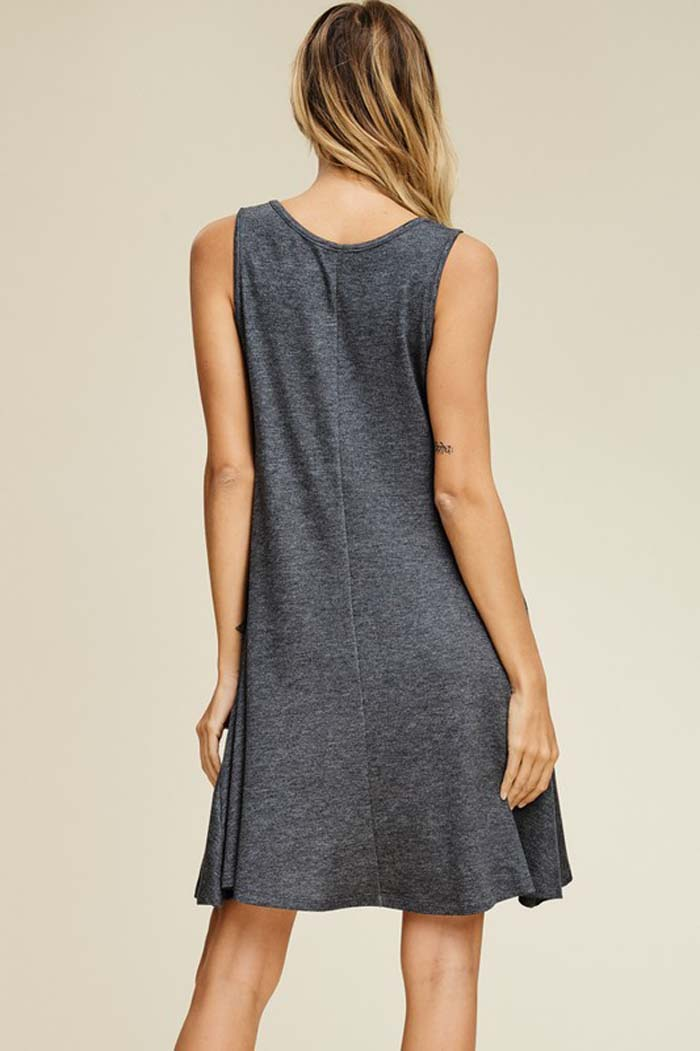 Emma Solid Swing Tank Dress : Charcoal