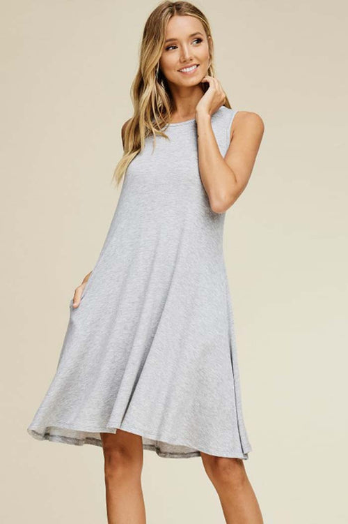 Emma Solid Swing Tank Dress : Heather Grey