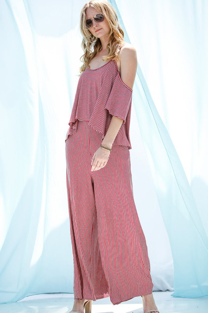 Heather Open Shoulder Jumpsuits : Red