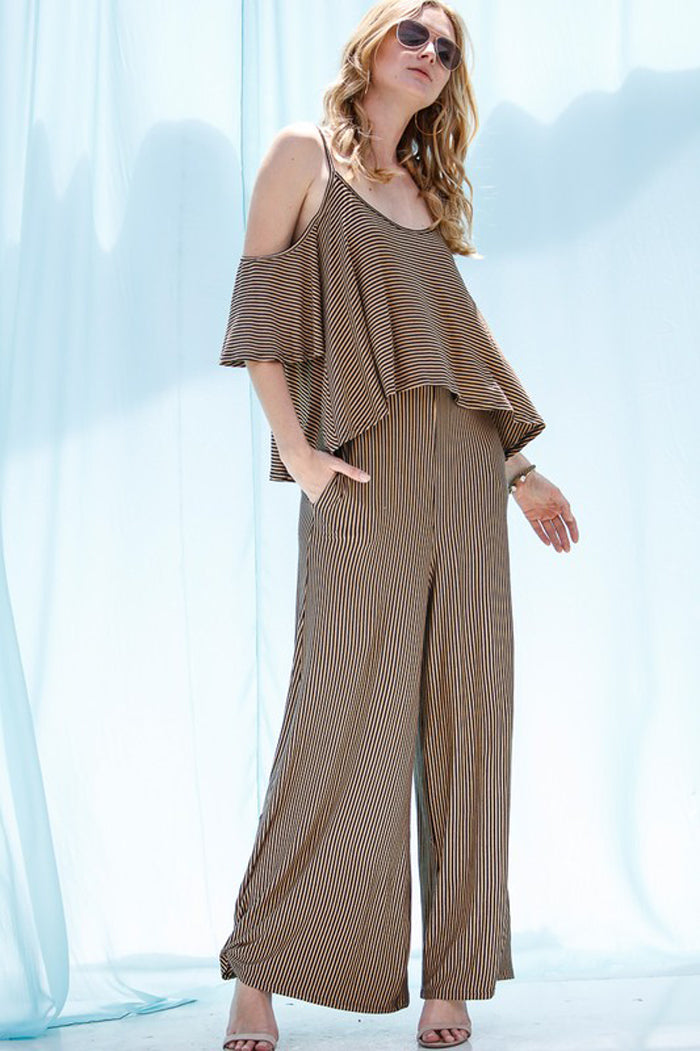 Heather Open Shoulder Jumpsuits : Mocha