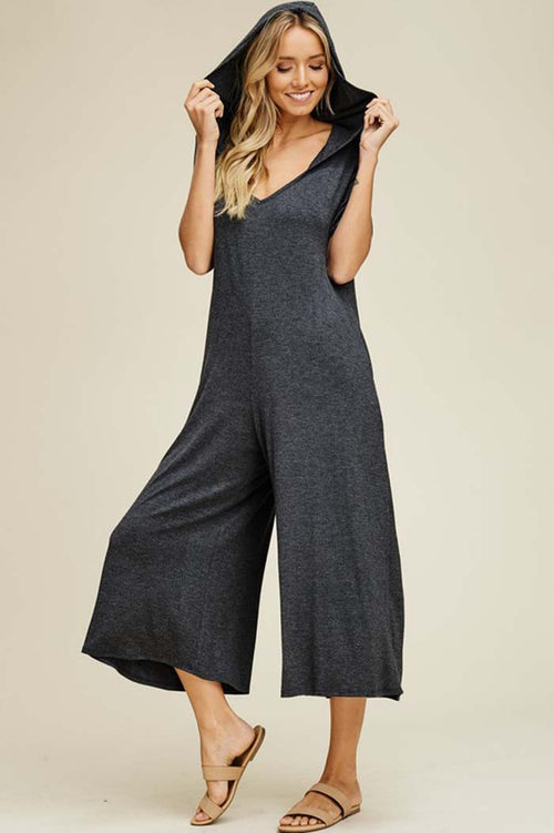 Georgia Hooded Cropped Jumpsuits : Mid Grey