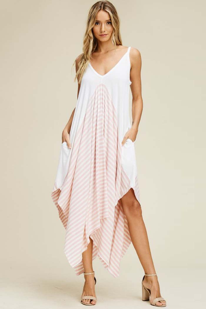 Jamie Asymmetrical Flowy Dress : Blush/Off White