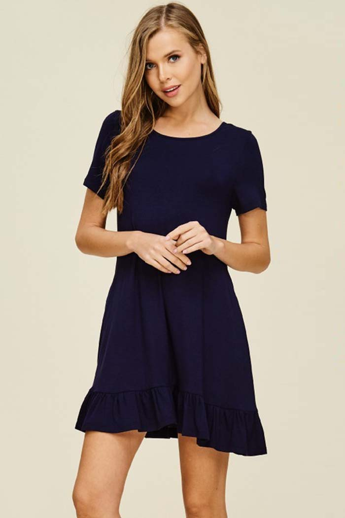 Gianna Ruffle Hem Dress : Navy