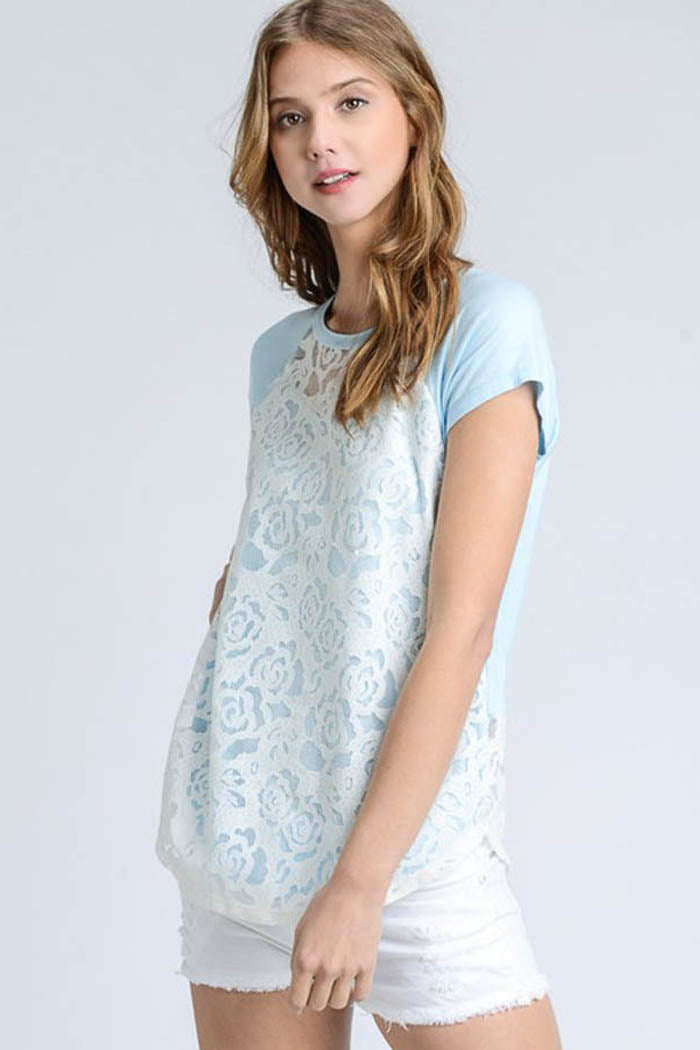 Bella Lace Overlay Top : Blue
