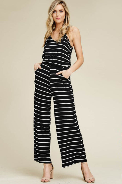 Kristy Striped Flare Leg Jumpsuits : Black/Ivory