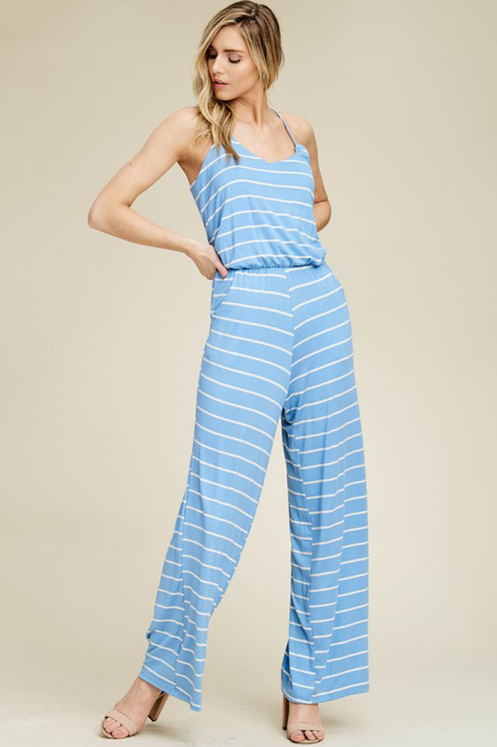 Kristy Striped Flare Leg Jumpsuits : Indigo/Ivory