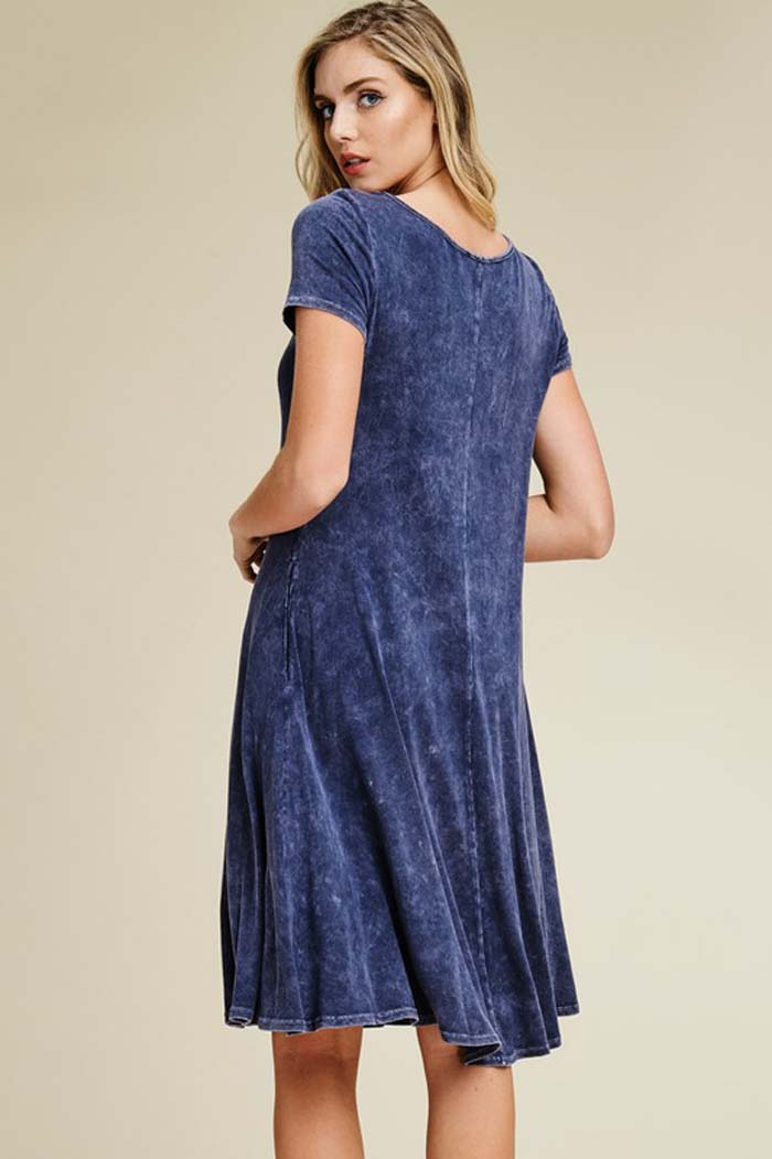 Greta Wash Crochet Swing Dress : Navy