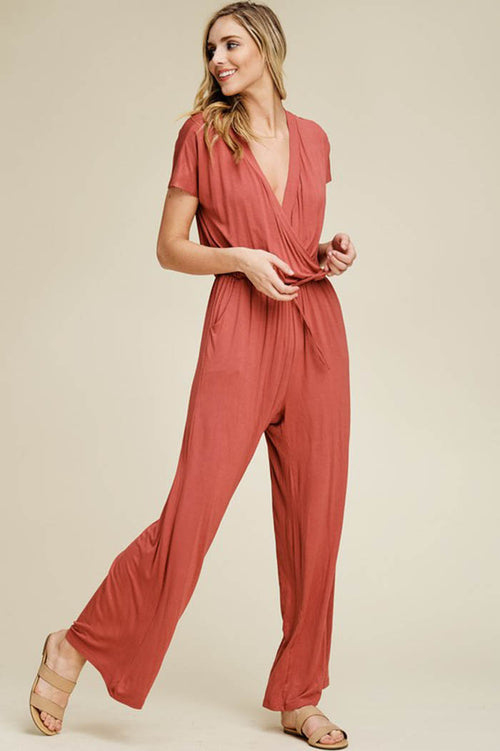 Elizabeth Surplice Neck Jumpsuits : Papaya