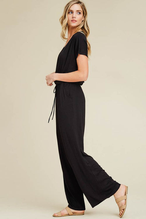 Elizabeth Surplice Neck Jumpsuits : Black