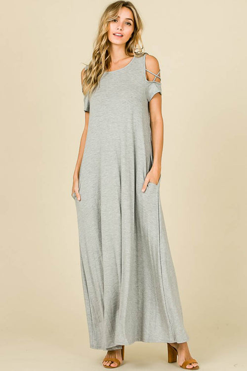 Flowy Silhouette Maxi Dress : Heather Grey