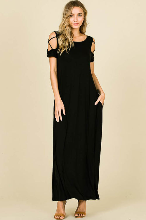 Flowy Silhouette Maxi Dress : Black