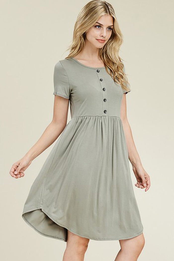 Hadleigh Solid Midi Dress : Sage