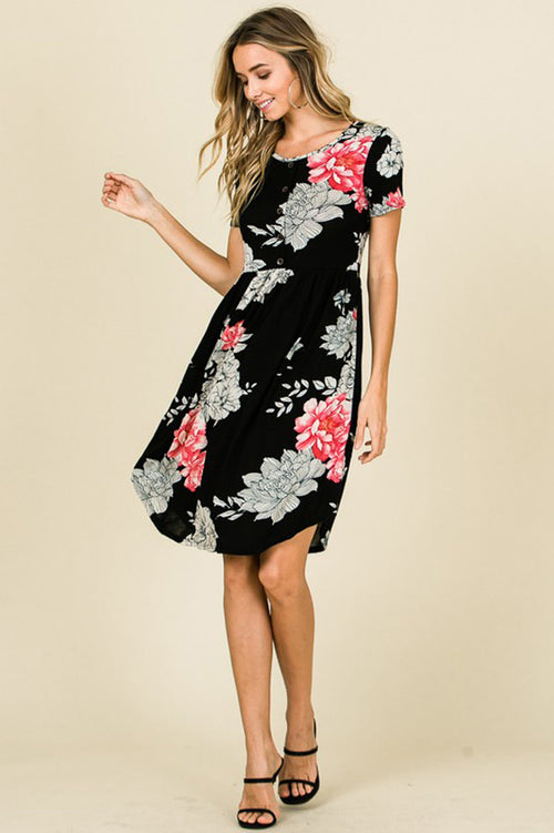 Luella Floral Midi Dress : Black