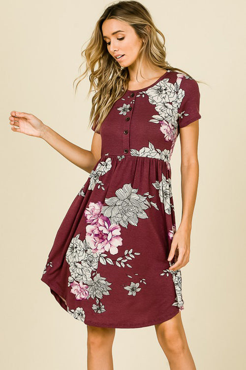 Luella Floral Midi Dress : Wine