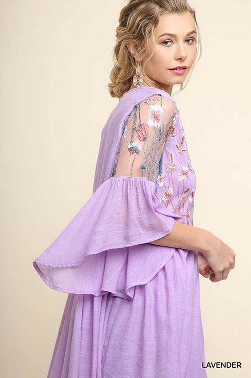 Olivia Floral Lace Dress : Lavender