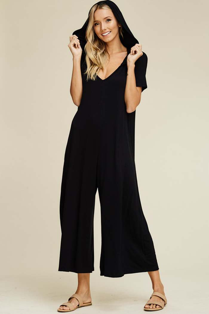 Georgia Hooded Cropped Jumpsuits : Black
