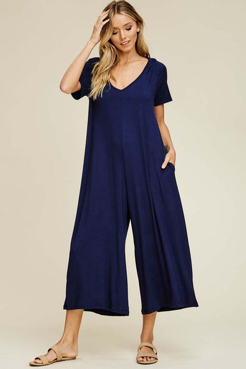 Georgia Hooded Cropped Jumpsuits : Navy