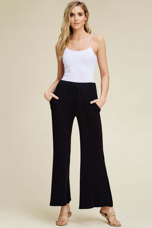 Izzy Lounging Wide Pants : Black