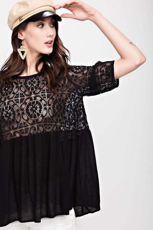 Amelia Sheer Lace Tunic : Black