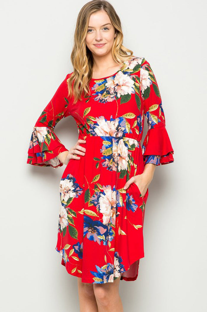 Molly Bell Sleeve Floral Dress : Red