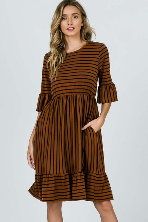 Sofia Stripe Casual Dress : Rust