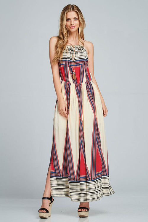 Geometric Printed Maxi Dress - maxi - GOZON