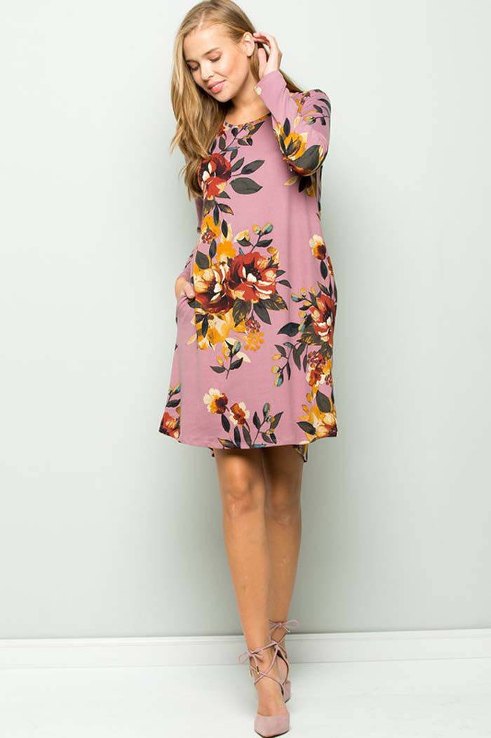 Delightful Floral Mini Dress : Dark Lavender