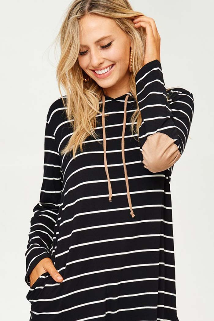 Daily Stripe Hooded Top : Grey
