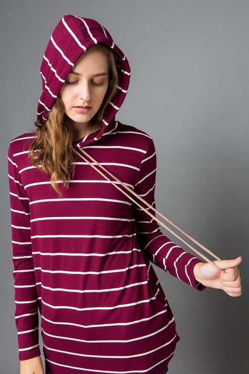 Daily Stripe Hooded Top : Burgundy