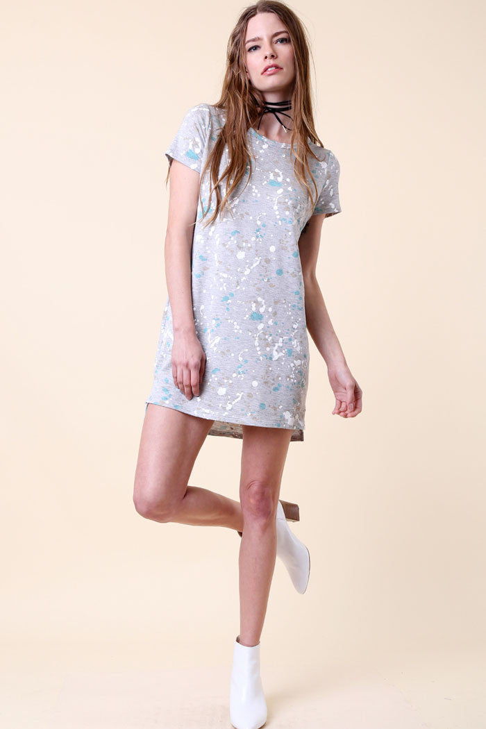 Splattered T-Shirt Dress - Mini - GOZON