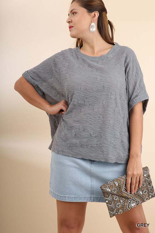 Brenna Dolman Slub Knit Top Plus : Grey