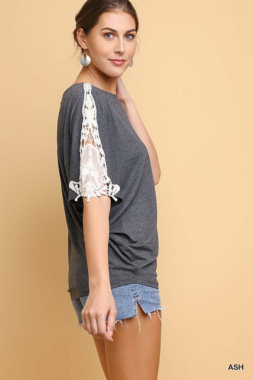 Elizabeth Basic Round Neck Top : Ash