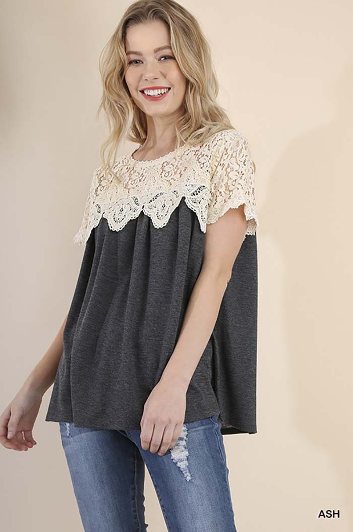 Emberly Lace Crochet Top : Sage