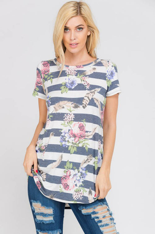 Aileen Multi Print Top : Navy