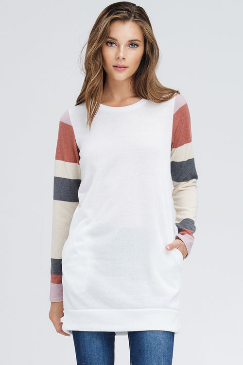Anna Stripe Sleeve Tunic Top : Ivory