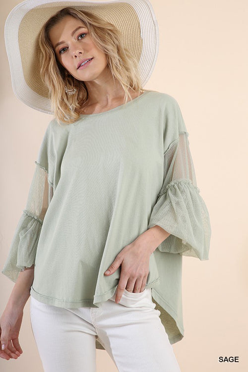 Aria Sheer Sleeve Top : Sage