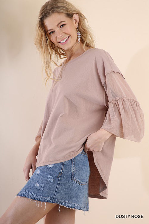 Aria Sheer Sleeve Top : Dusty Rose