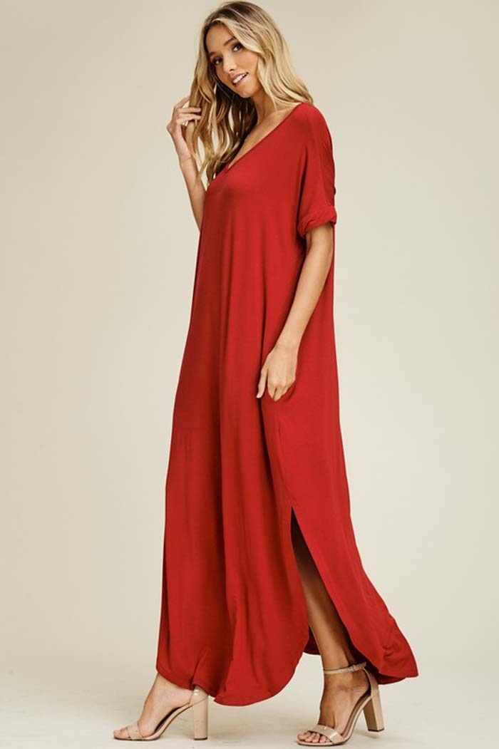 Ashley Essential Maxi Dress : Red