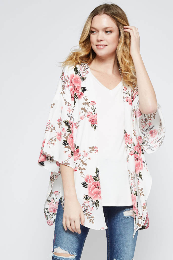 Ava Cardigan Floral Floral Ava Ivory Kimono OR0OrvTW