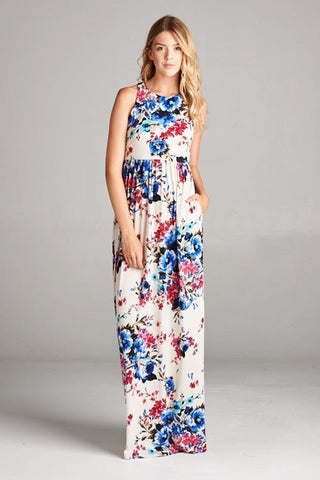Elegant Floral Midi Dress : Royal blue