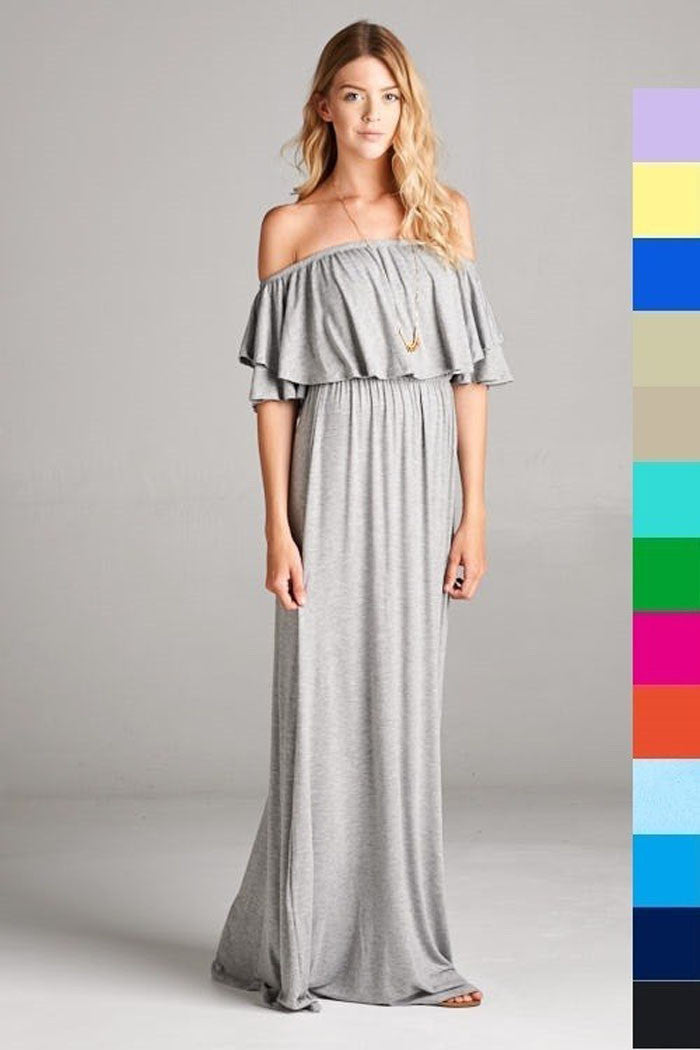 Off Shoulder Solid Maxi Dress - Maxi - GOZON